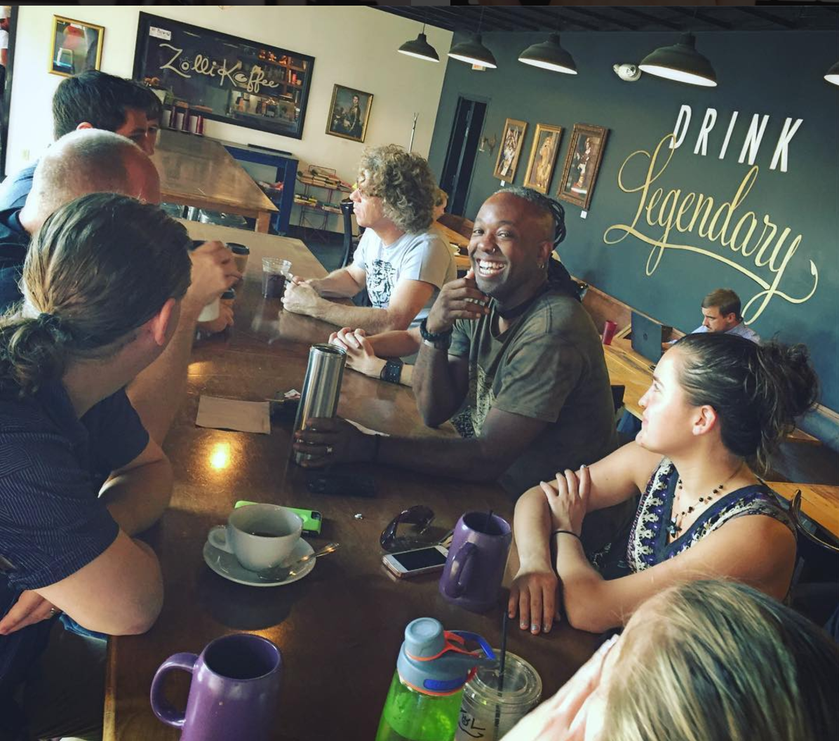 We meet weekly at a local coffeeshop, and we've had about 200 people cycle through since we first launched it.