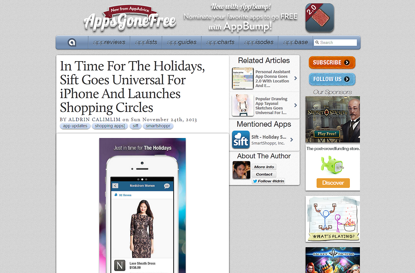 Apps Gone Free article