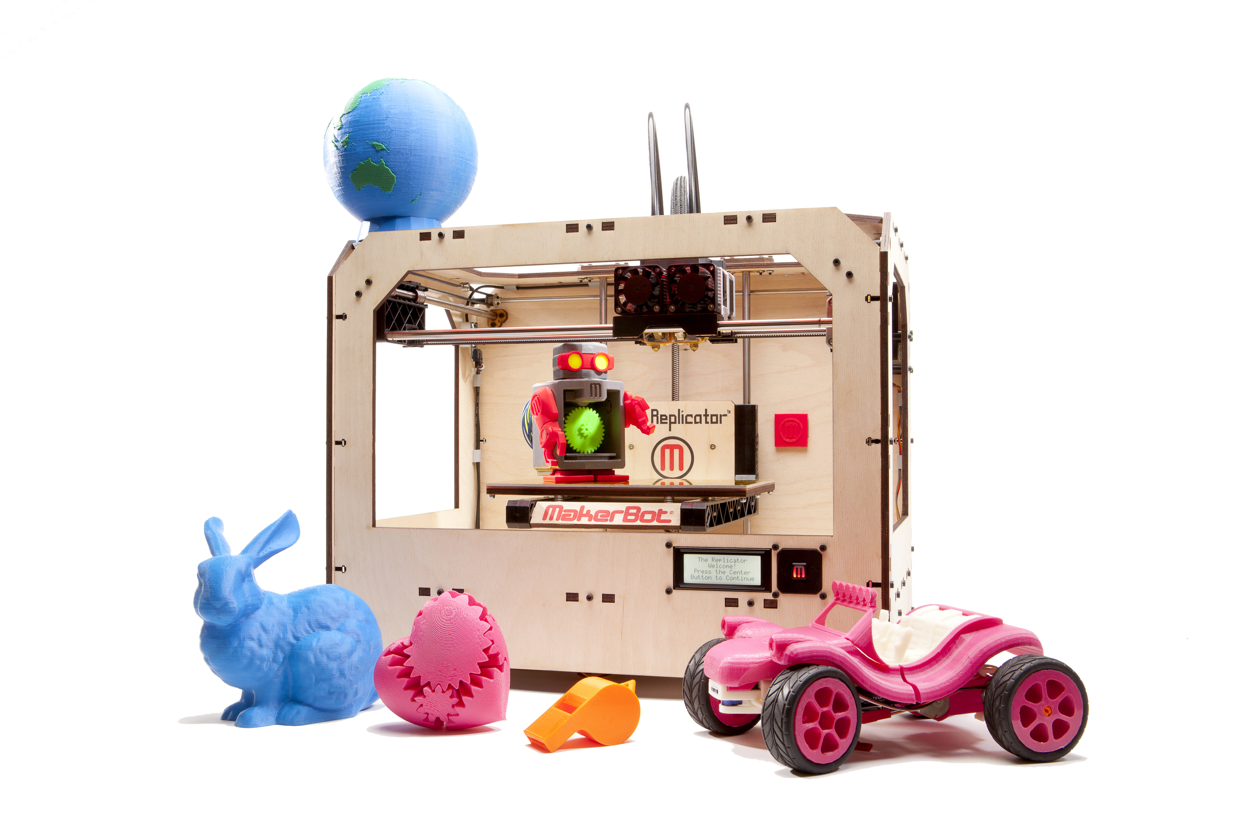 MakerBot's inexpensive 3D printing kit innovates in a number of ways, spawning not just colorful toys but a vibrant ecosystem—the Thingiverse —to bring together creative and practical designs from across the world.      Photo courtesy  http://www.makerbot.com/