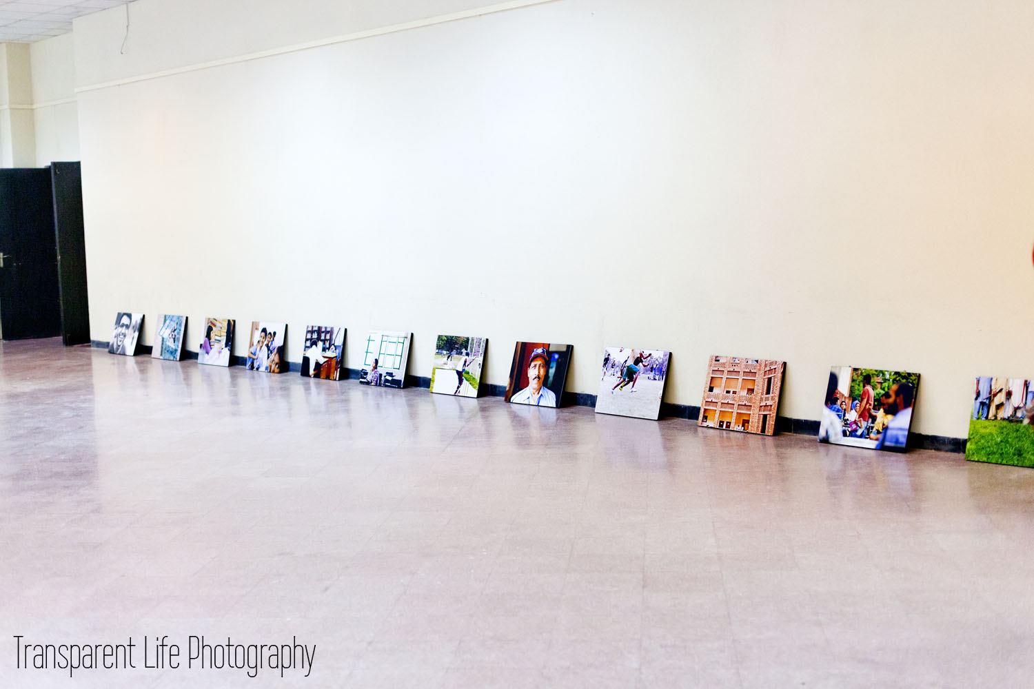 When we were setting up for the event, we found laying the pictures down in the order with the spacing that we wanted, was easiest for hanging them.