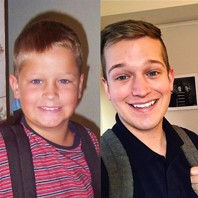 First first day, last first day. Same forehead, better(?) smile.