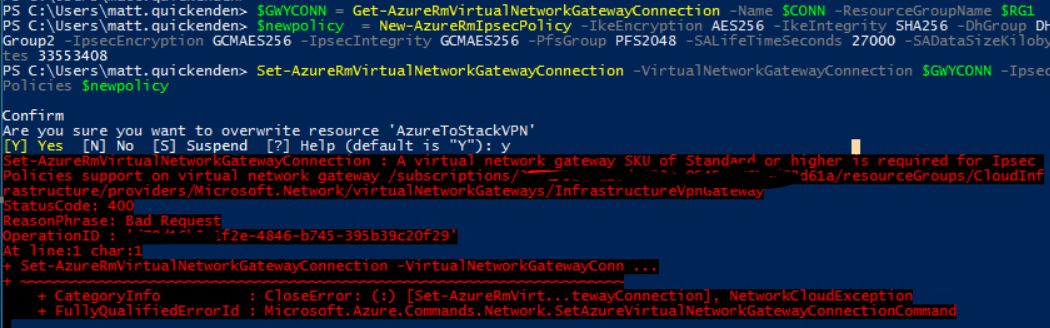 Azure to Azure Stack site-to-site IPSec VPN tunnel failure