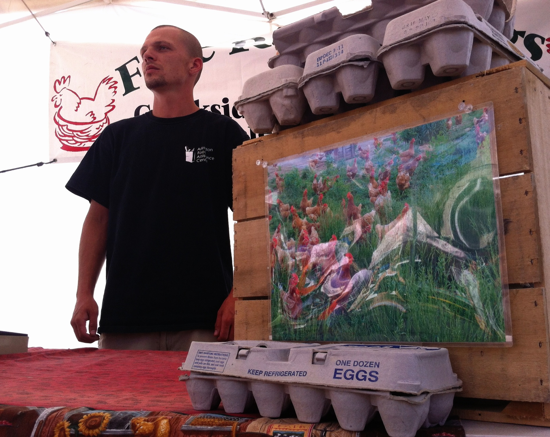 Tom Garver says Creekside Farm uses photos to communicate the value of free-range eggs. Photographed with my iPhone 4.