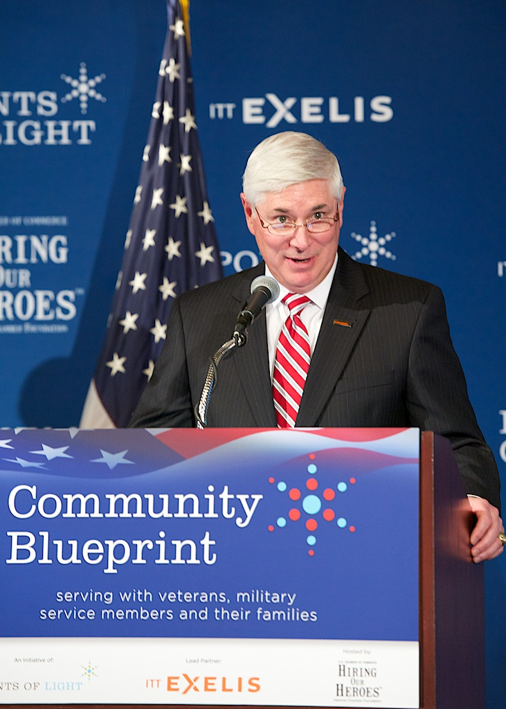 To advance the Community Blueprint, ITT Exelis CEO and President David Melcher announced the company's five-year, $5 million investment in this Points of Light initiative, as well as a new Exelis employee volunteer program that will add the company's human resources to the effort.