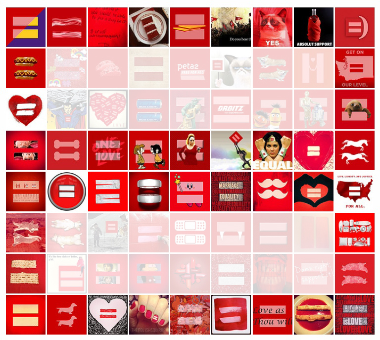 Brands remixed their logos and products in the recognizable red equal symbol.