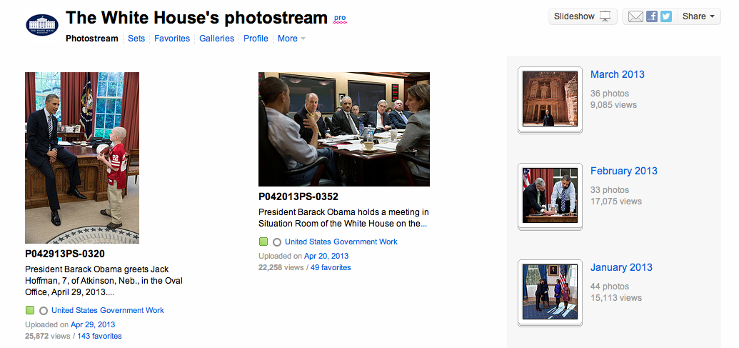 The White House photo stream is a great example of how Flickr can be used to distribute newsworthy images.