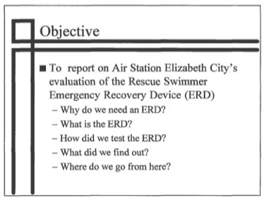 1996 Emergency Recovery Device brief for Coast Guard Chief Engineer