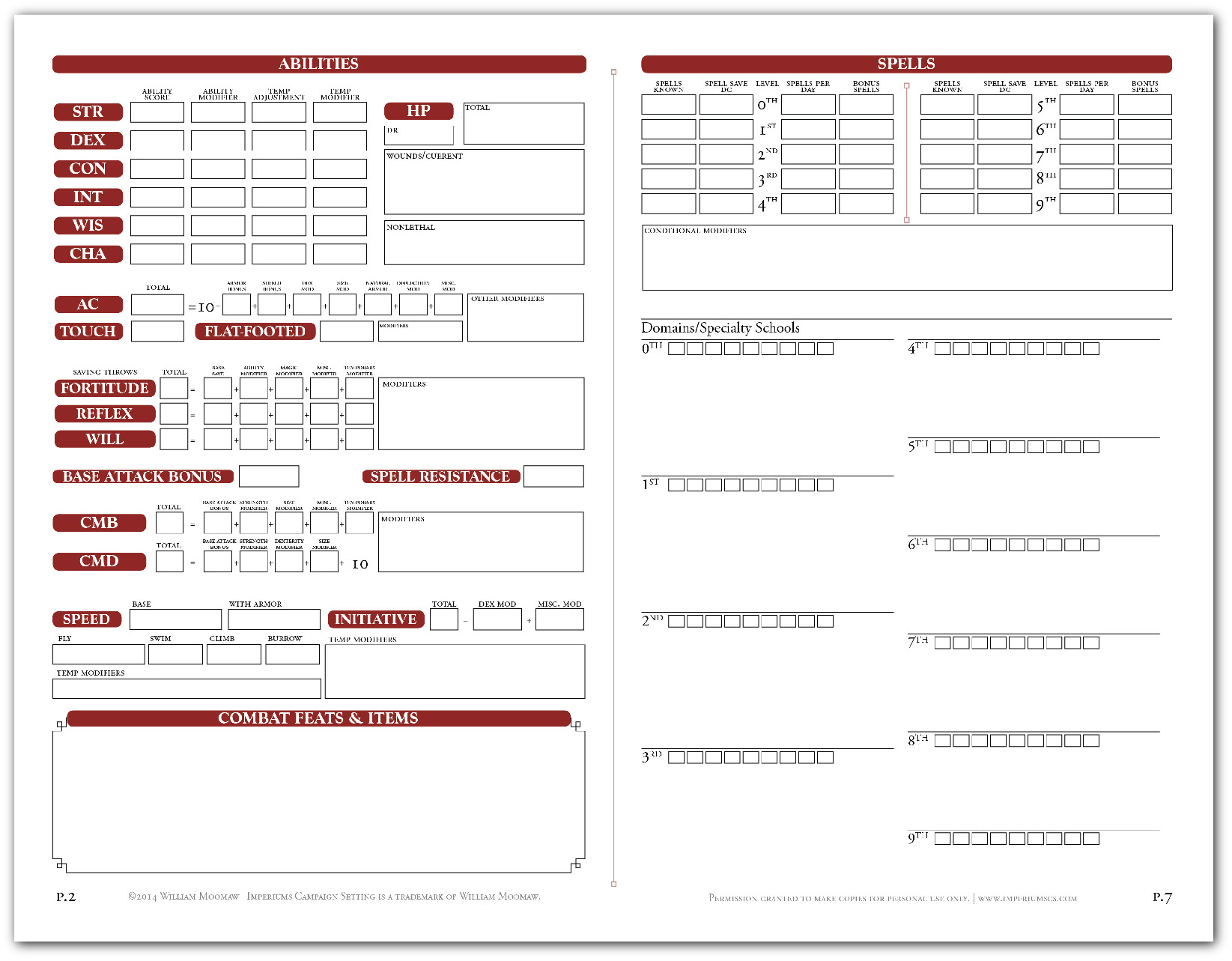 "Adventure Path custom character sheet sample - 4 pages that fold to 8-page 5.x""x8.5"" pamphlet."