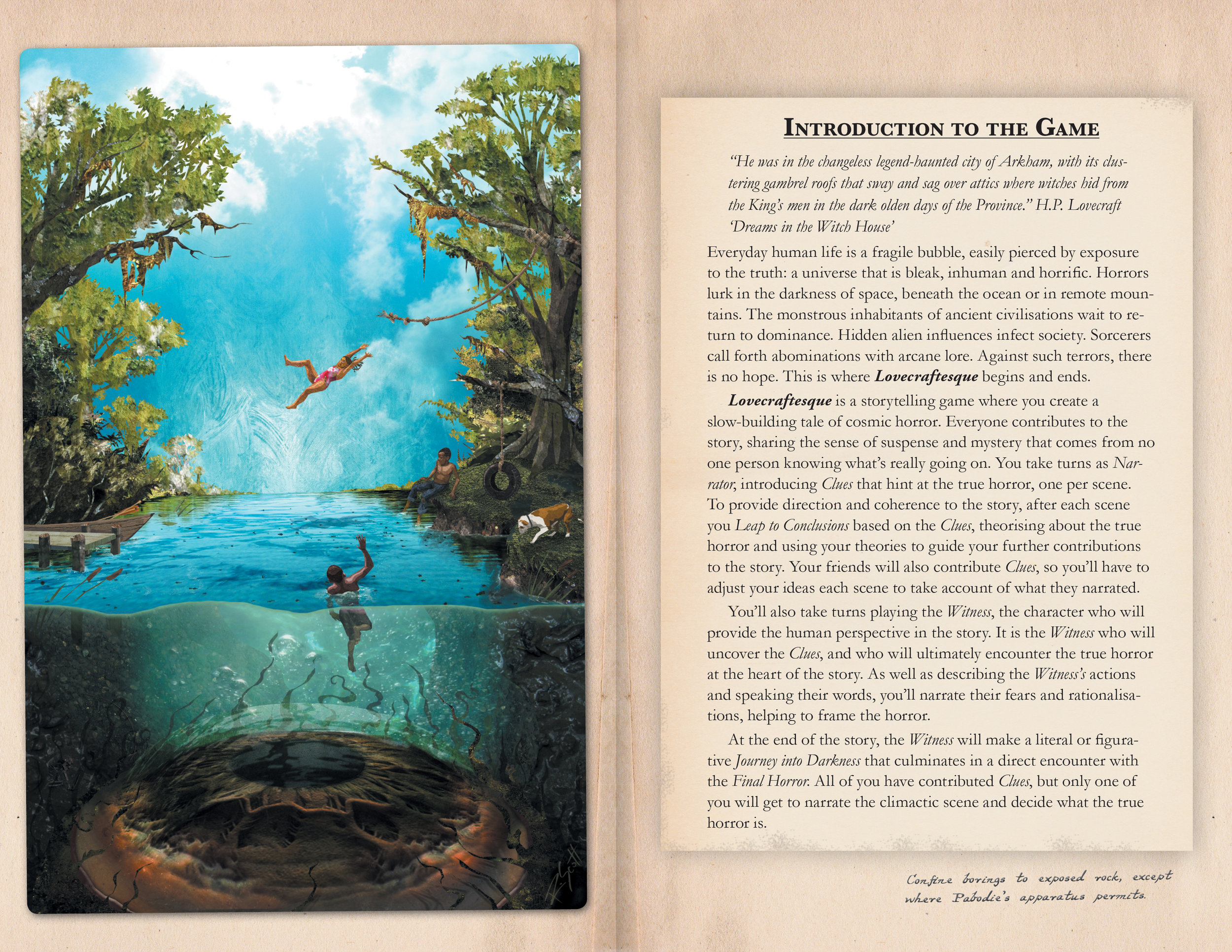 Chapter Intro from early in the book - the pages and background deteriorate as the reader goes on.