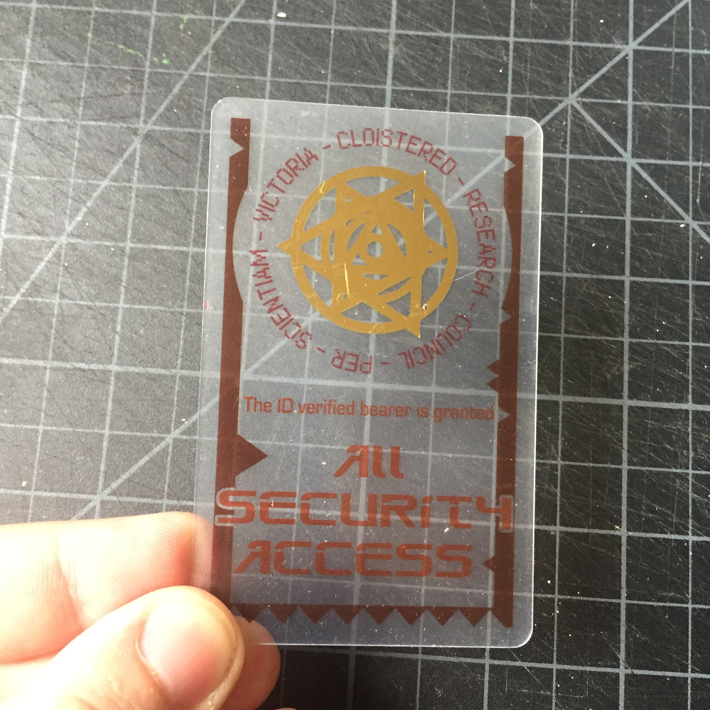 C.H.O.I.R Access Card - A translucent ID card I designed for my friend Russell Collin's game Tears of a Machine