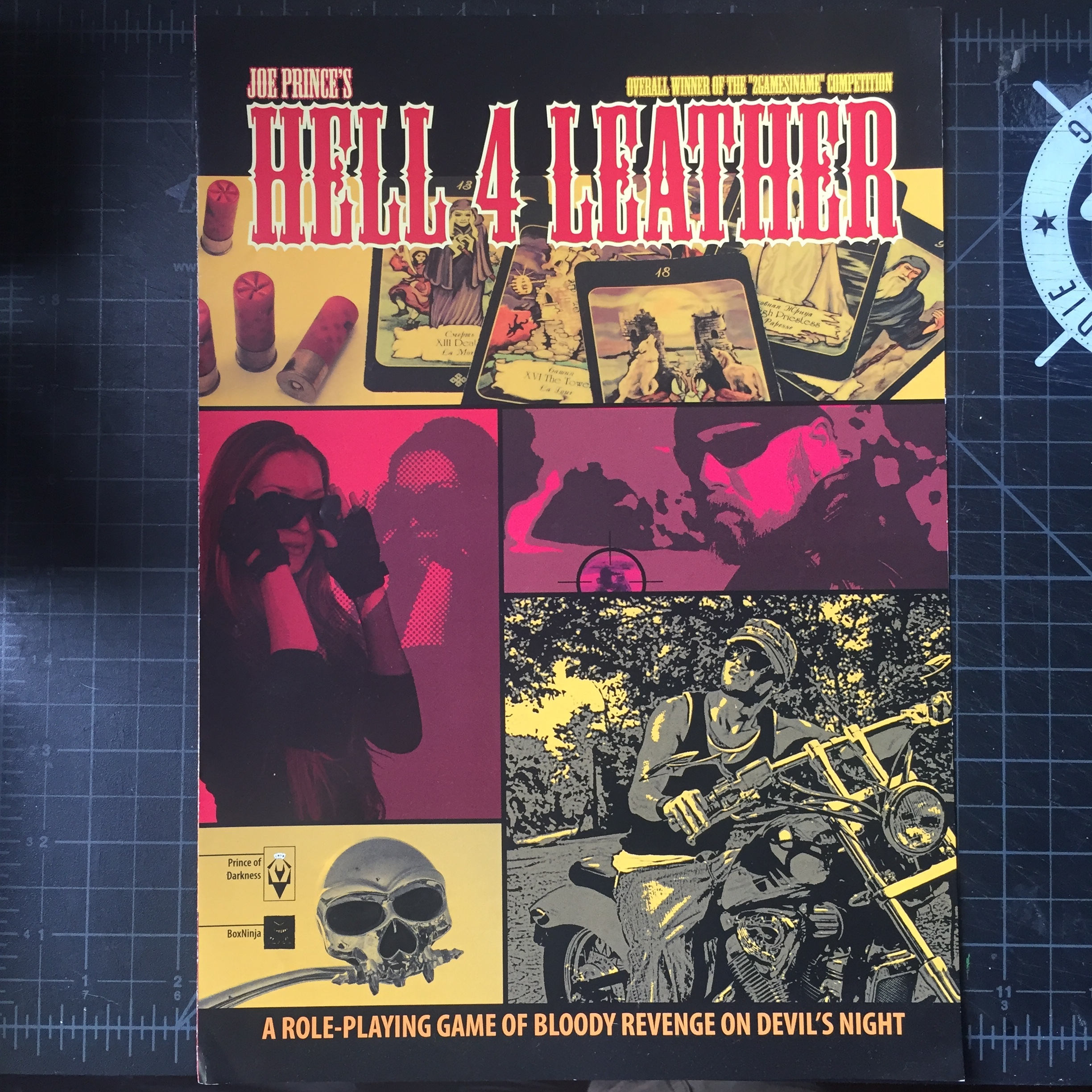 Hell 4 Leather - My friend Joe Prince's excellent tarot-driven horror game, a four-panel pamphlet.