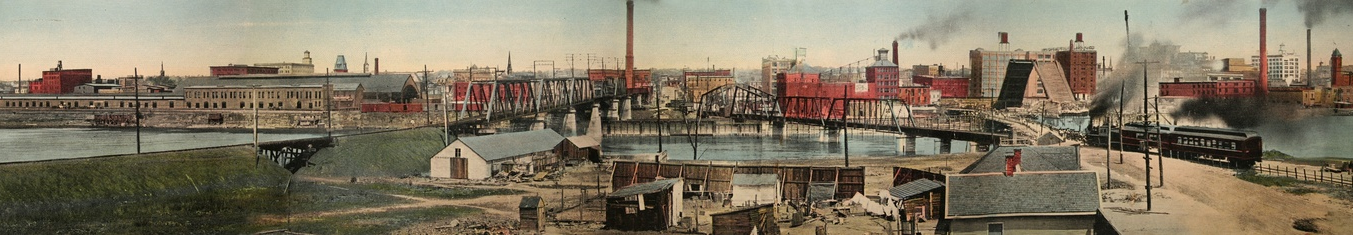 Looking east from East Peoria to Peoria IL, 1911