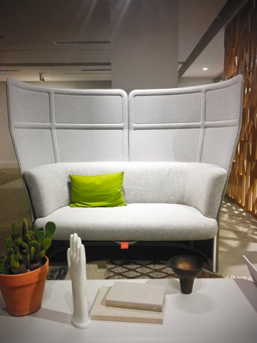 Private spaces in public spaces were one of the things that I noticed as an objective of many of the brands. The importance of privacy without being behind an actual wall was approached in different ways. High back support in a chair is just an example.