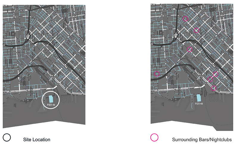 SITE ANALYSIS . In order to decide if a boutique hotel/nightclub was the appropriate project for the zone, a study of the adjacent neighborhood was made. No similar projects were found.