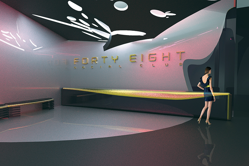 USER EXPERIENCE. Final rendering of the reception area of the Nightclub.