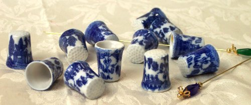 Blue Willow style thimbles.