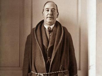 C.S. Lewis in his housecoat.