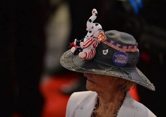 Elephants and American Flags on an Ohio delegate's hat. Love it.