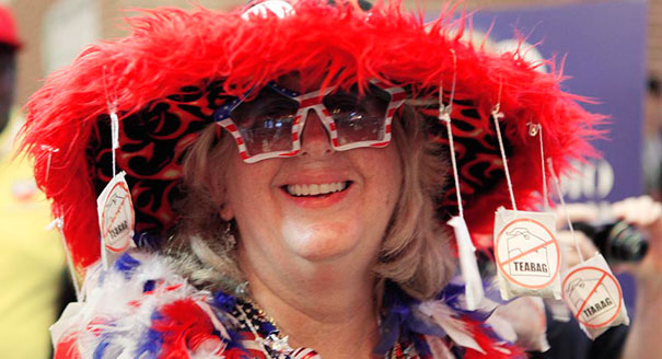 "Love the Democratic "" no teabag"" lady's response to the Tea Party  and how about those glasses?"