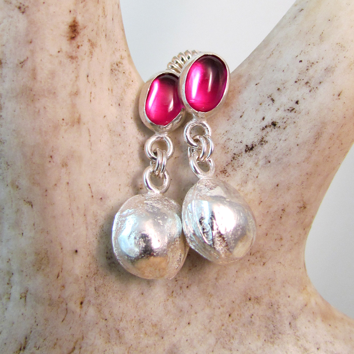 Rubies and Cherry Pit Sterling Silver Earrings - Ann K Organic Designs, 2012©