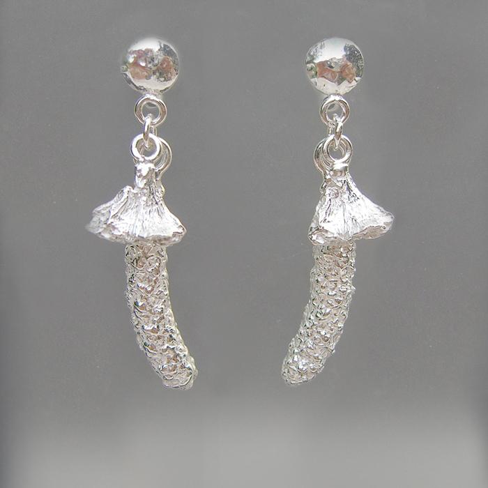 Birch Catkin Sterling Silver Earrings - Ann K Organic Designs, 2012©