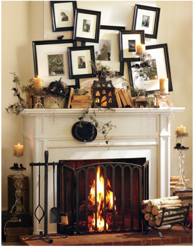 A fabulous idea from Pottery Barn. verlap your Black and white photos for a spooky look.