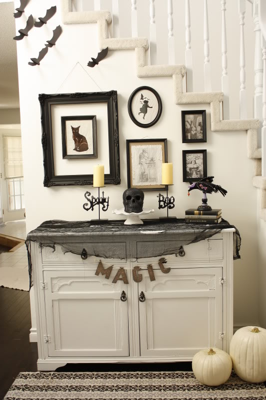 This do it yourself black and white Halloween project from  Life in the Fun Lane  serves as a fabulous example of what you can do for an entryway or other odd space.