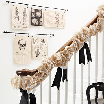 imple black and white printouts or illustrated pages from vintage books can be clipped to rods on stairwell walls.