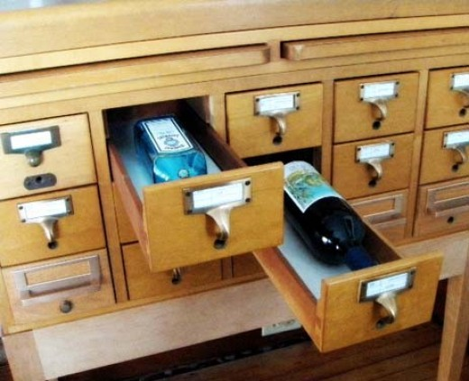 Vintage Card Catalog Wine and Liqueur Storage   Source: Apartment Therapy - Inspiration: Using A Card Catalog as a Bar.