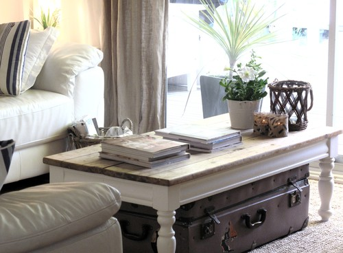 Beach Cottage Coffee Table and Vintage Luggage