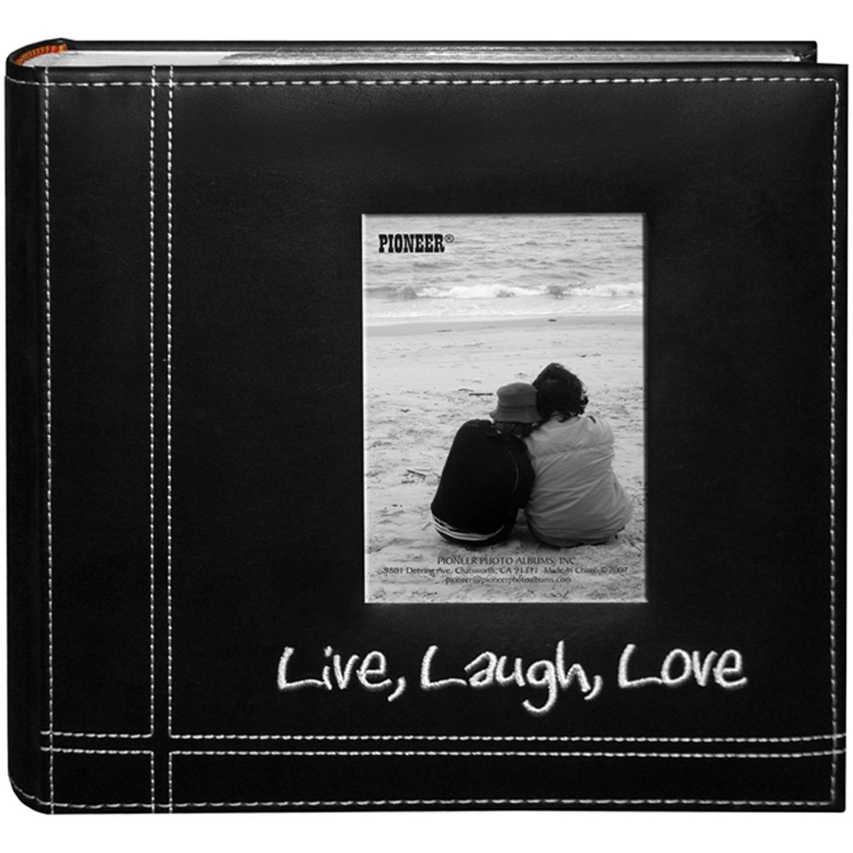 9 by 9 inch Embroidered Stitched Leatherette Photo Album  Archival, photo safe, acid, lining, and PVC free  Clear side-loading pages have a space for journaling; clear protective cover keeps fabric clean  Measures 9 by 9 inches and holds up to 200 4 by 6 inch photos