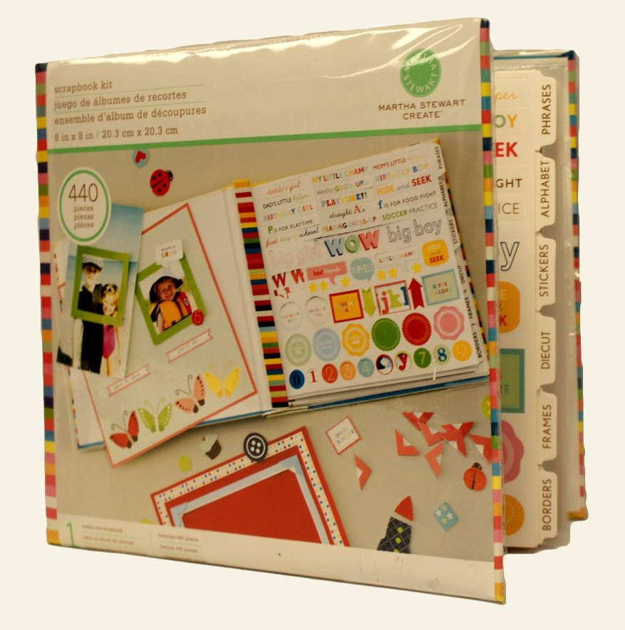 Complete Scrapbooking Kit by Martha Stewart with stickers and decorations.