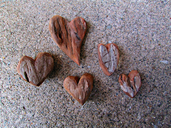 5 Big and Chunky Driftwood Hearts Rustic Raw Heart Shaped Cut Outs --  TINKER'S ATTIC.