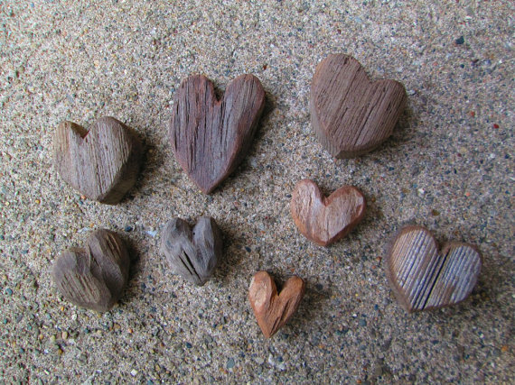 Lot of 8 Driftwood Heart Shaped Cut Outs Lake Michigan Supplies --  TINKER'S ATTIC.
