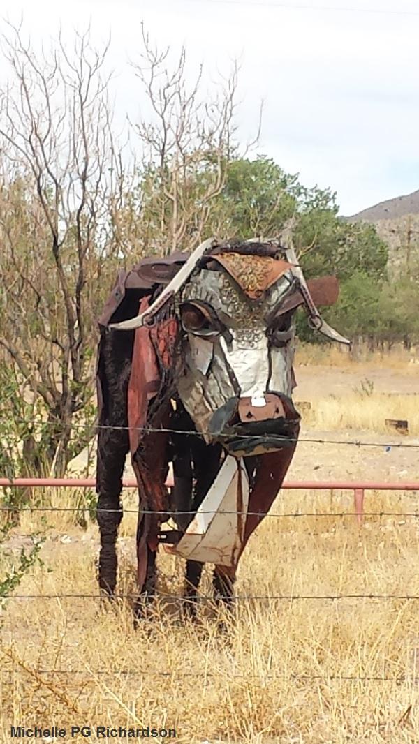 Bull sculpture.