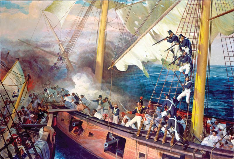 Documenting lesser known events in history was part of John Ford Clymer's genius. This painting is of a battle at sea during the War of 1812 depicting when the U.S.S. Wasp captured the H.M.S. Reindeer on June 28, 1814.