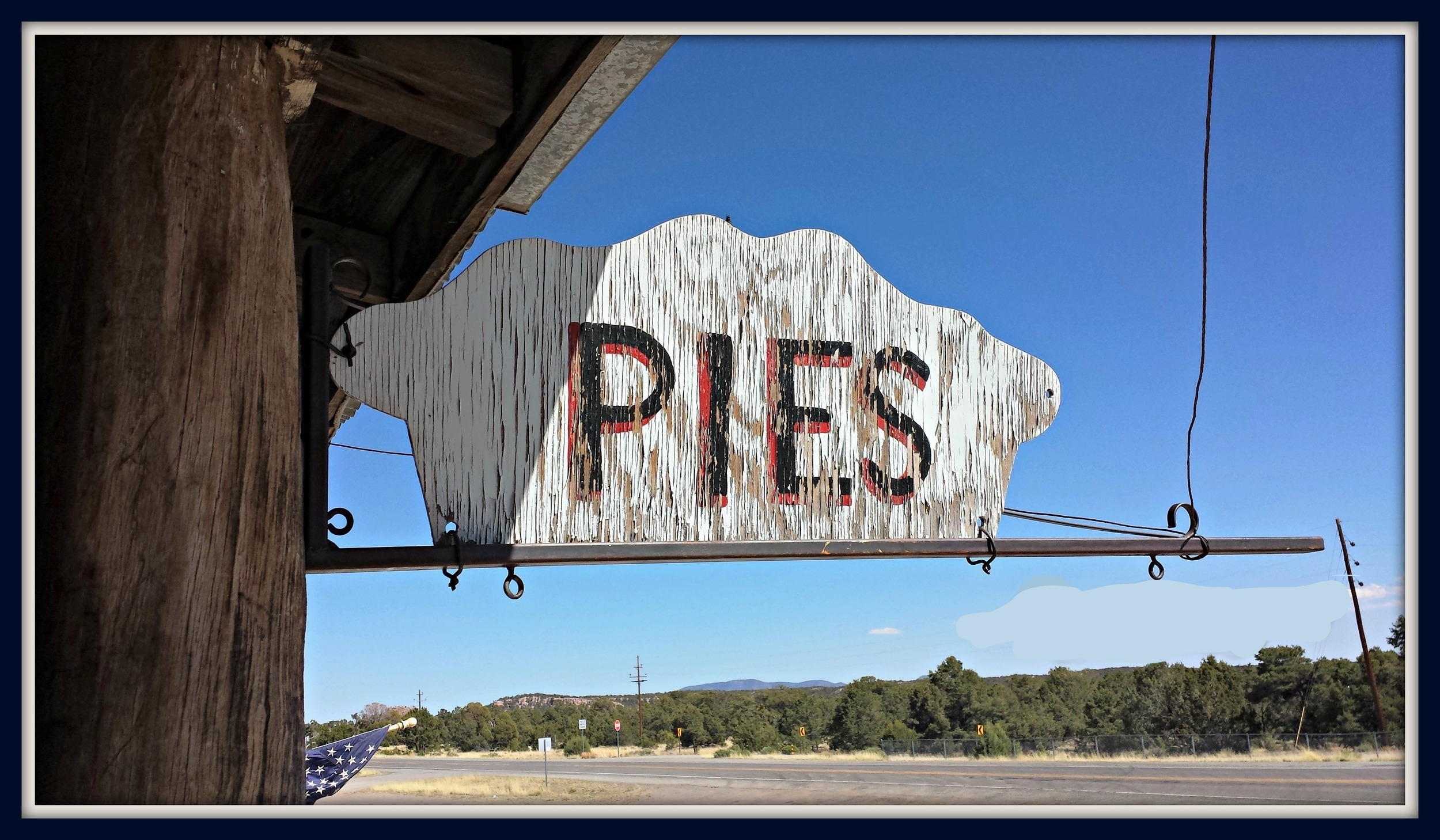 Pie-o-neer Pie Shop in Pie Town, New Mexico sign. Here we indulged in the perfect pies.