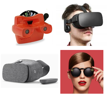 A variety of head mounted display designs  From top left: ViewMaster (1963), Oculus Rift (2016), Google Daydream (2016), Snap Spectacles (2016)