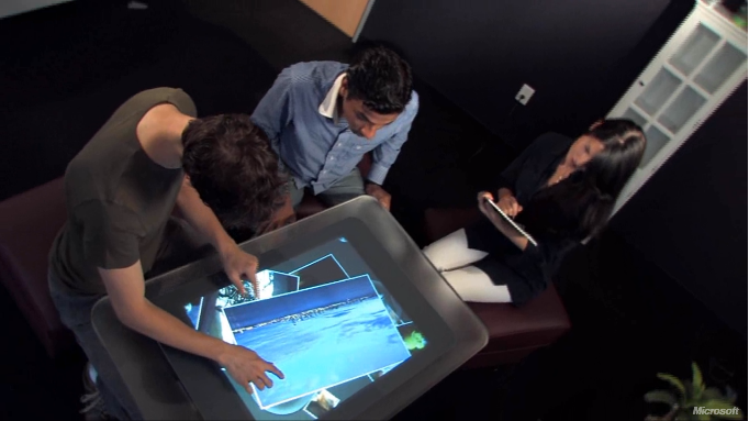 The author user testing the Microsoft Surface mixed reality device to determine its intuitiveness and usability (Microsoft)