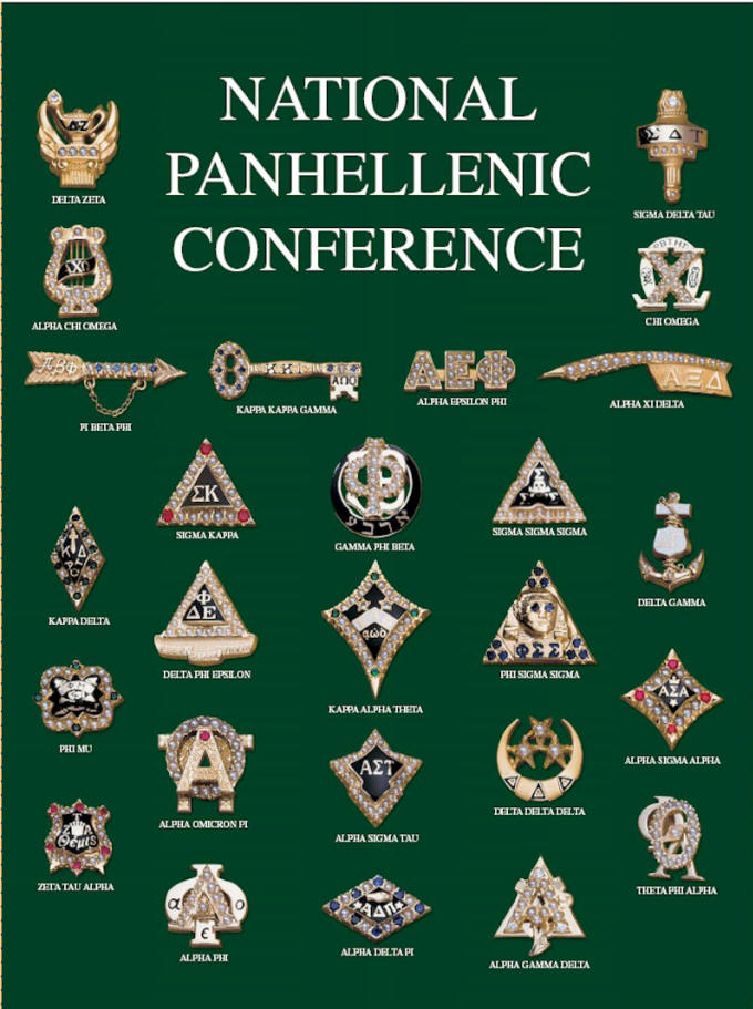 The badges of the National Panhellenic Conference