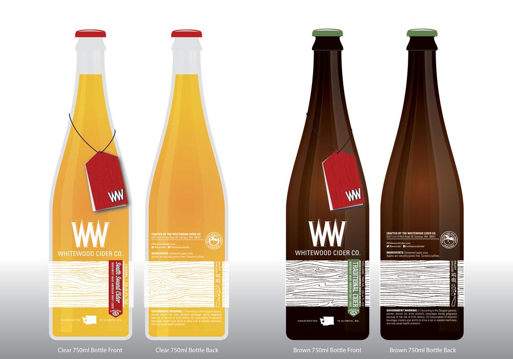 2012 Whitewood Cider Company bottle mockups. ©2012 Whitewood Cider Co.