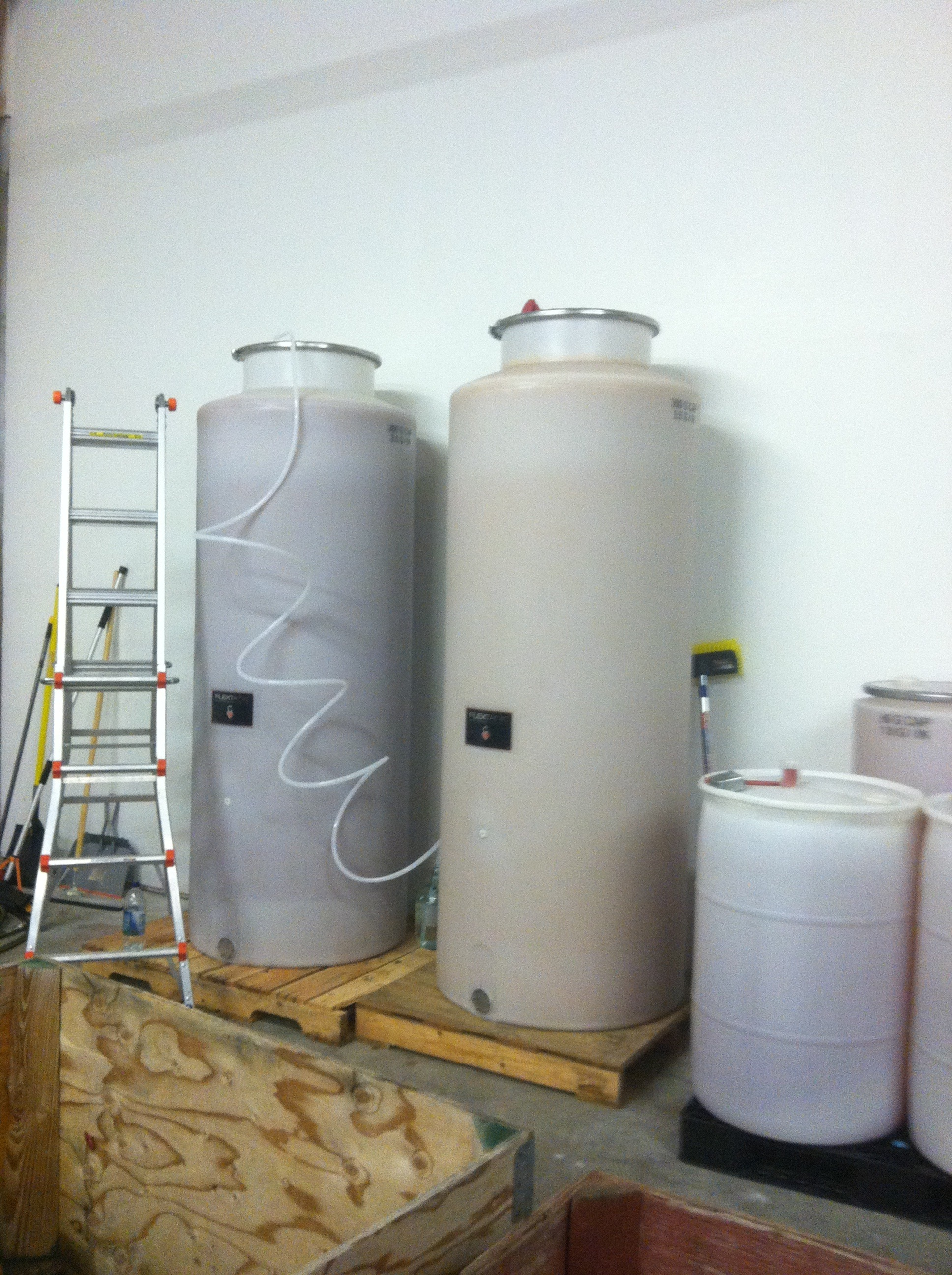 Pictured: 2) 300 gallon tanks of cider... At Whitewood Cider Co.