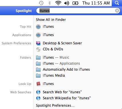 Spotlight in OS X