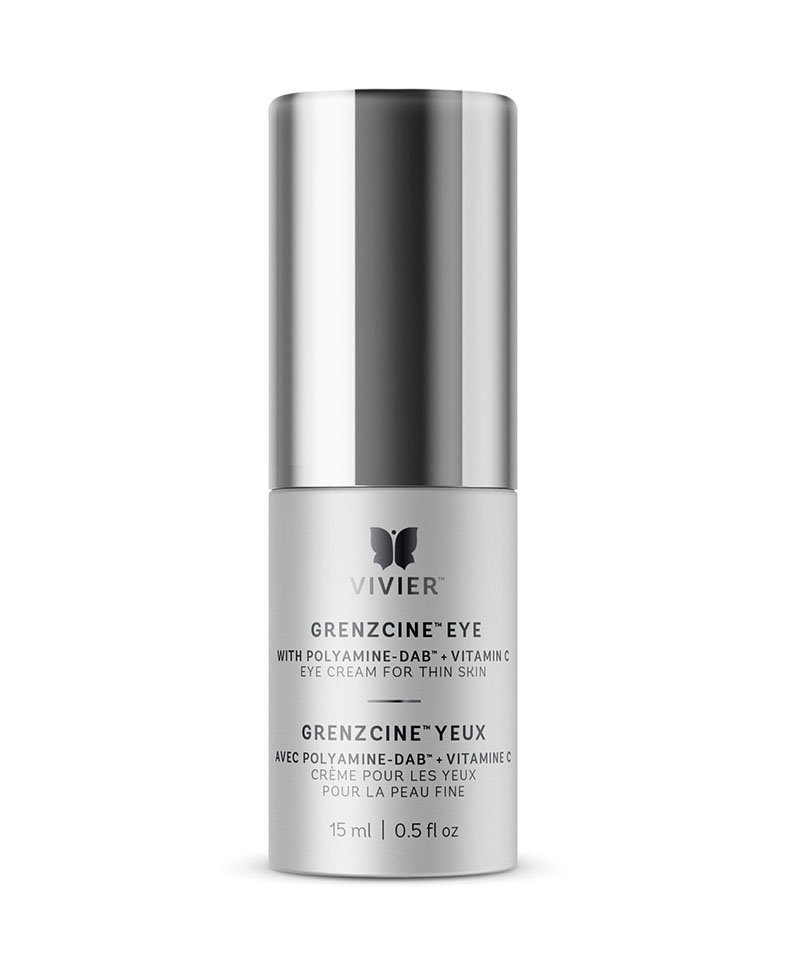 GrenzCine™ Eye $197   GrenzCine™ Eye is a new discovery redefining the way to fight signs of aging skin. This eye cream is specially formulated for the thin skin on the eyelids and around the eyes. Helps to increase the thickness and firmness of the skin while diminishing fine lines and wrinkles and increasing moisturization and luminosity. This innovative and patent-pending formulation contains Polyamine-DAB™ and Vitamin C as well as hydrating ingredients.    Product contains:  Polyamine-DAB™ | Vitamin C (Ascorbyl Palmitate)   Benefits  - Thickens the skin around the eyes and eyelids  - Increases firmness and hydration - Diminishes fine lines and wrinkles - Increases luminosity for younger looking skin - Fragrance-free, recommended by physicians and clinically proven.