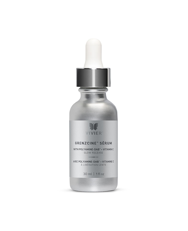 "GrenzCine $324   As you age your skin becomes thinner and your collagen level decreases. Lasers, peels, retinoids, the sun and over-exfoliation may also contribute to thinning your skin.  GrenzCine™ Sērum* Slow Release is formulated to help increase the firmness of (thicken) our skin. This formulation, combining our renowned, patented Vitamin C sērum plus Polyamine-DAB™, is a new patent pending discovery resulting from 30 years of clinical research by a renowned Plastic Surgeon.  GrenzCine™ Sērum* Slow Release will increase firmness and hydration of the skin while providing the benefits of diminished fine lines and wrinkles, increased luminosity and improved skin tone, texture and elasticity.  Our innovative sērum works using the Polyamine-DAB™ from the ""outside in"" and the Vitamin C from the ""inside out"", leaving the skin more luminous and youthful-looking.  "" We have always believed in bringing new and innovation technology, anti-aging ingredients and products to the skin care market. It is our mission and commitment to deliver superior results for our partners, "" says Jess Vivier, President and CEO of Vivier Pharma.   Product contains:  Polyamine-DAB™ (1,4-Diaminobutane) 
