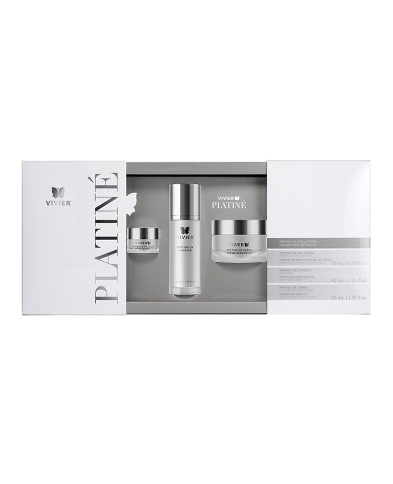 Platiné Peptide CR Collection $596   Featuring the  Peptide CR Eye Crème ,  Peptide CR Complex  and  Peptide CR Crème , the Peptide CR Collection is the ultimate combination of three exclusive formulations containing advanced peptide technology, Vitamin C and Retinol. This premium Collection helps refresh the appearance of the eyes, face, neck and décolleté – for a complexion that looks youthful and radiant.   Benefits  - Features the complete set of VivierSkin Platiné products - Includes products for the eyes, face, neck & décolleté - Helps reduce and reverse the appearance of wrinkles - Ideal for all skin types - Packaged in an elegant case - May be used alone or in combination with aesthetic procedures