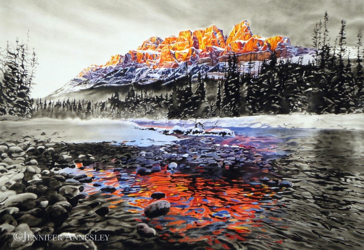 """Crimson Castle"" | Charcoal & Watercolour  43 x 30"" | Private Collection"