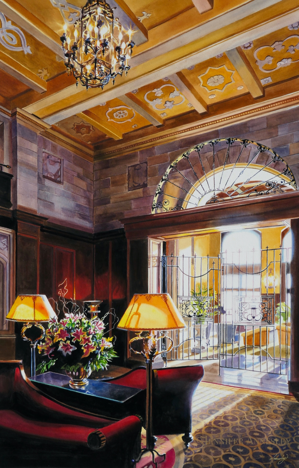 """""""Morning Light"""" (Watercolour) 25 years ago we chose the Fairmont Hotel Macdonald as the venue for my annual exhibition for its architectural beauty, historical and personal significance and location atop Edmonton's river valley."""