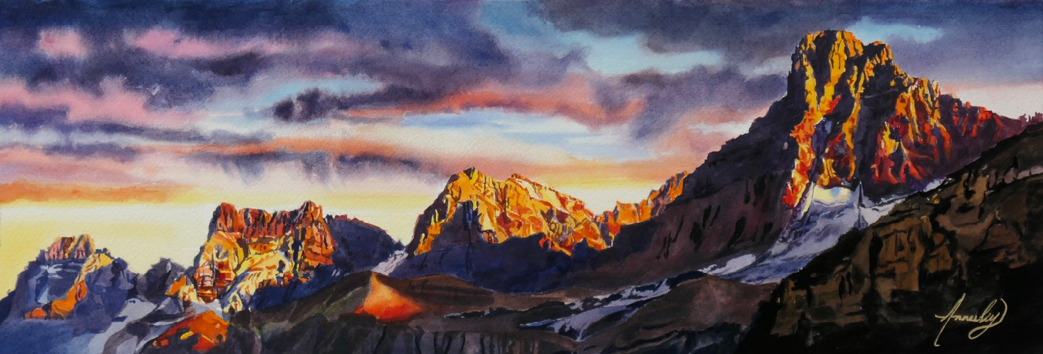 """""""The Backcountry"""" Watercolour 21 x 7"""" (Private Collection)"""