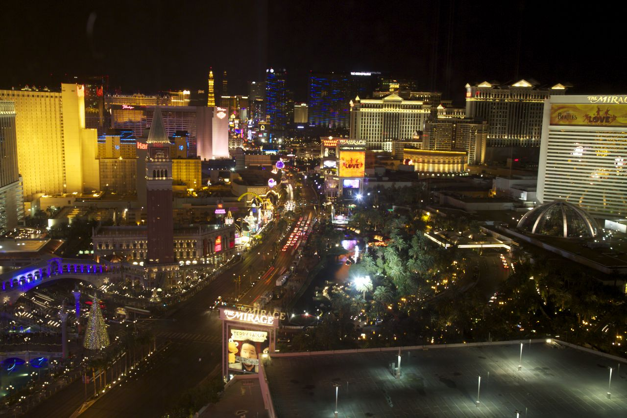 The strip at night from my hotel room.